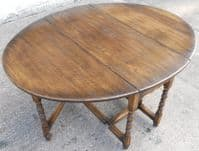 SOLD Antique Jacobean Style Large Oak Gateleg Dining Table to Seat Six